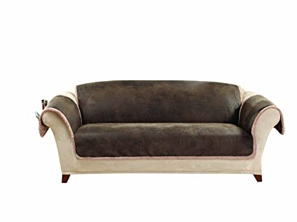 Sure Fit Vintage Leather   Sofa Slipcover   Brown (SF43058)