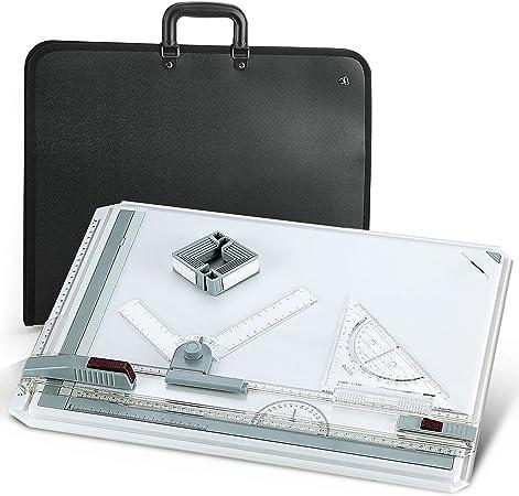 EFANTUR Tablero de Dibujo A3 plástico mesa con Movimiento Paralelo y ángulo Ajustable 51 x 36.8cm incluido carpeta con asas para el hombro: Amazon.es: Hogar