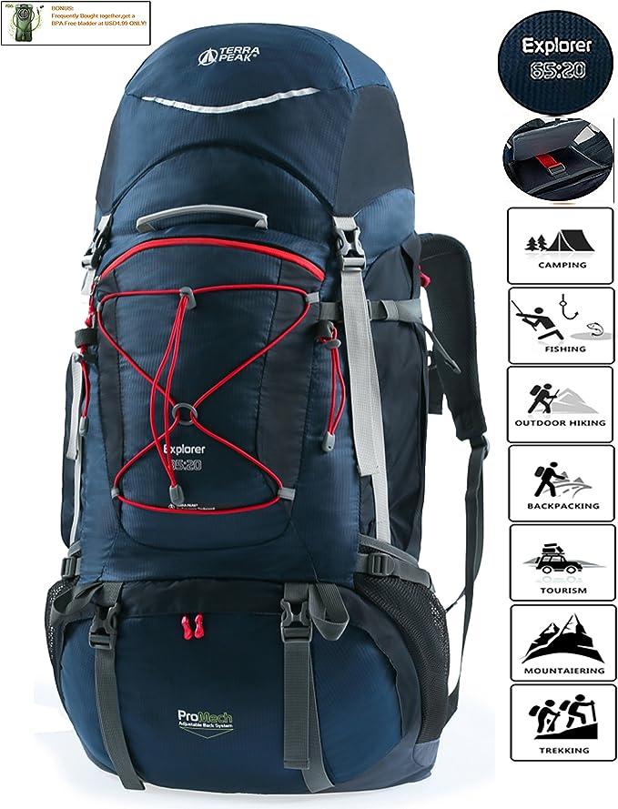 TERRA PEAK Adjustable Hiking Backpack 55L/65L/85L+20L for Men Women