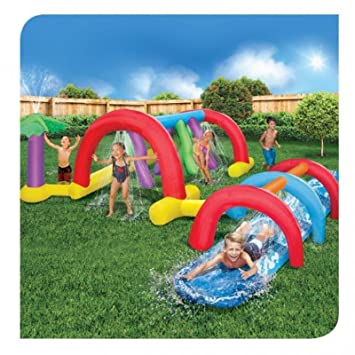 Backyard Adventure Water Park Slide Sprinklers 179 Foot Long Fun Course Party
