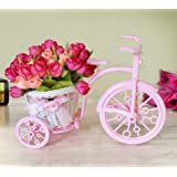 Tied Ribbons Cycle Shape Flower Vase With Flower Bunches