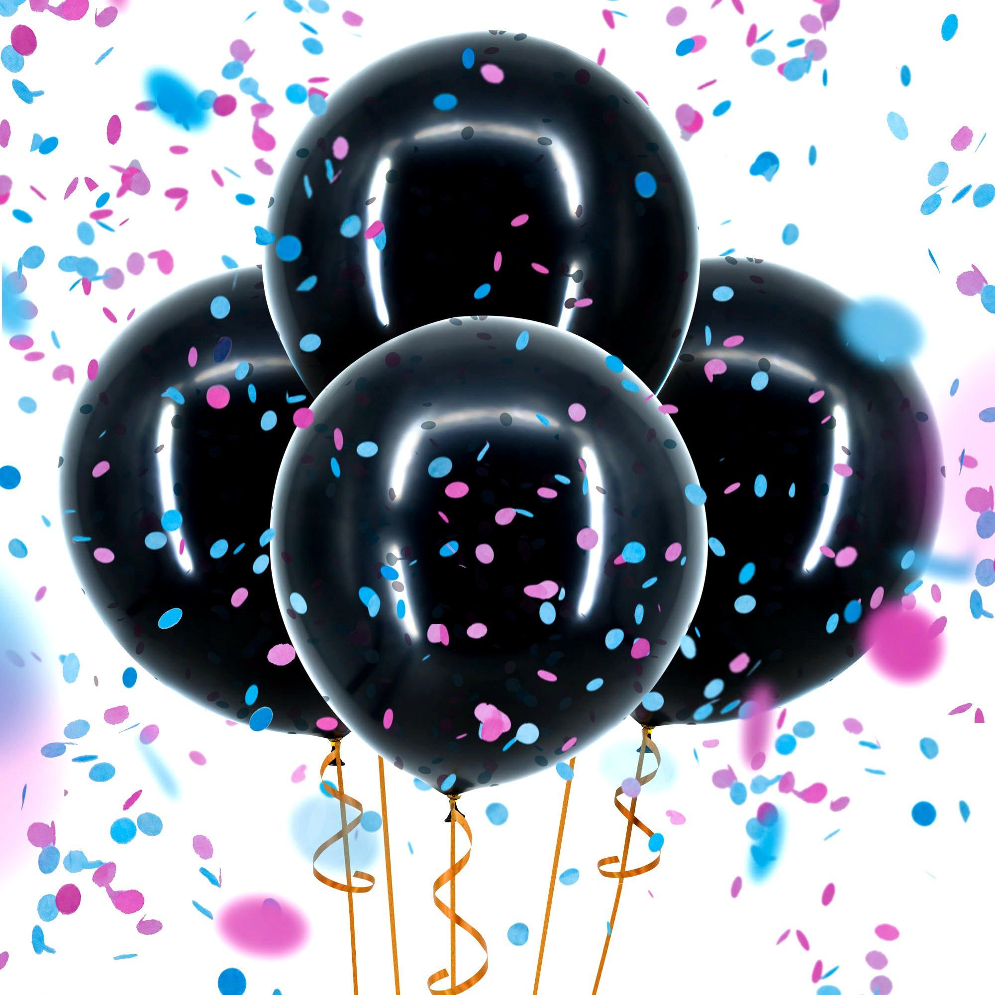 """Sepco Gender Reveal Confetti Balloon Black - with Pink and Blue Confetti (Jumbo 36"""")"""
