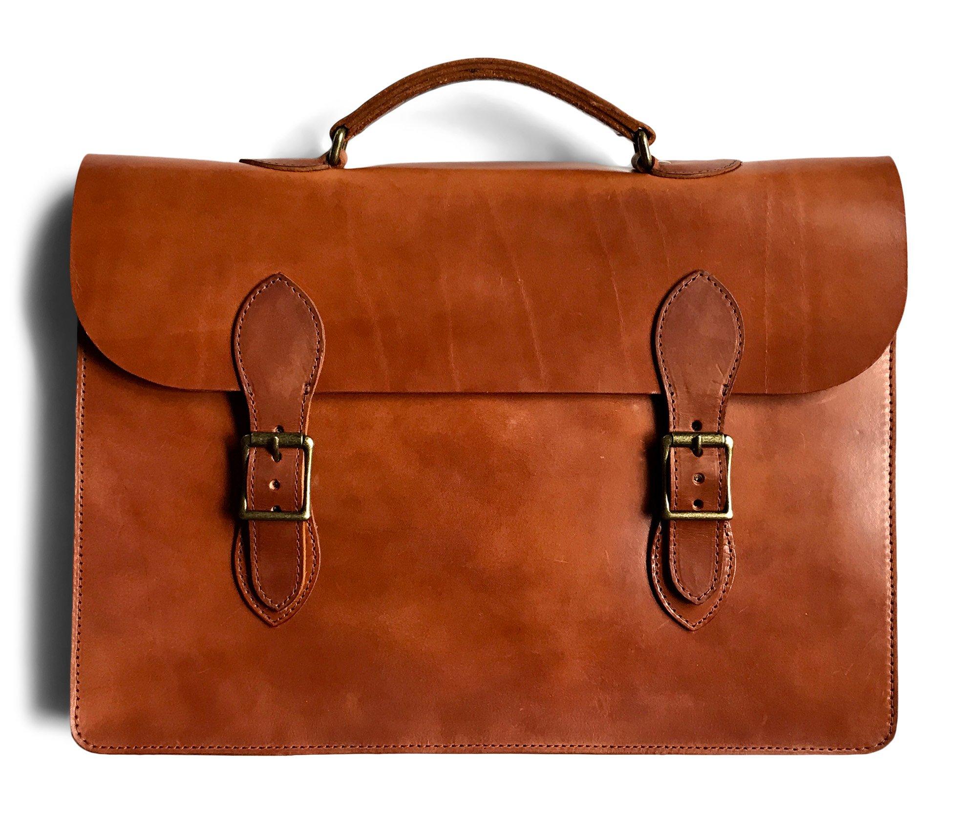 Jackson Wayne Vintage Leather Attache Laptop Case (Saddle Tan)