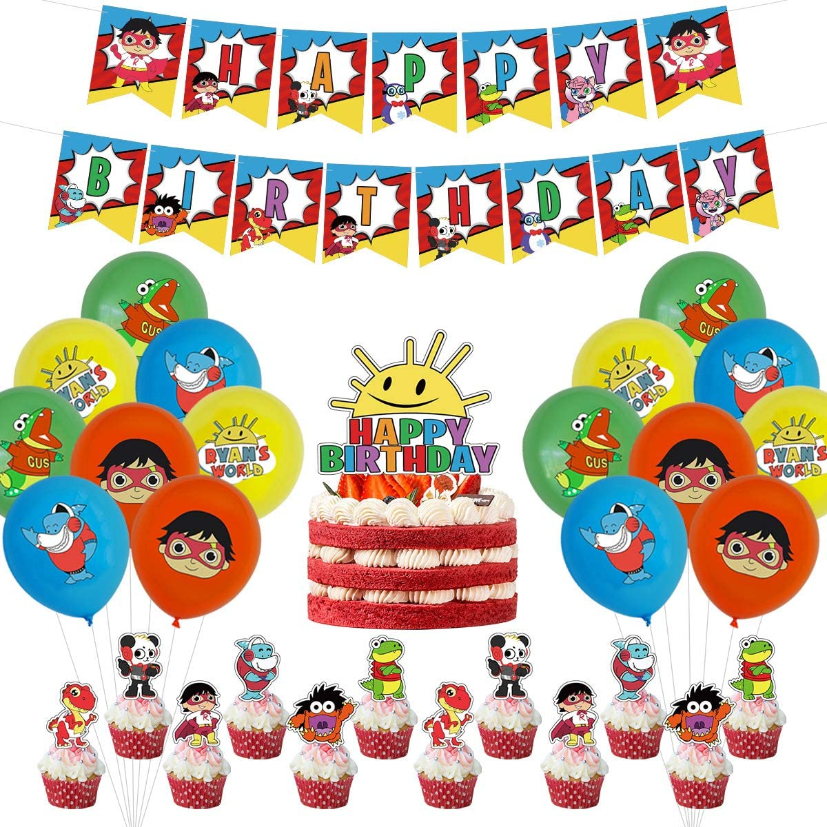 Ryans World Theme Birthday Party Supplies, Ryans World Theme Party Decorations Set include Latex Balloons, Happy Birthday Banner, Cake Topper for Ryans World Fans Birthday Party Decorations