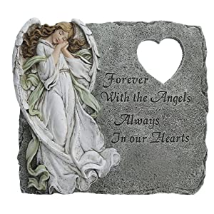 Angel Memorial Heart Cutout Stepping Stone, 10 1/4 Inch