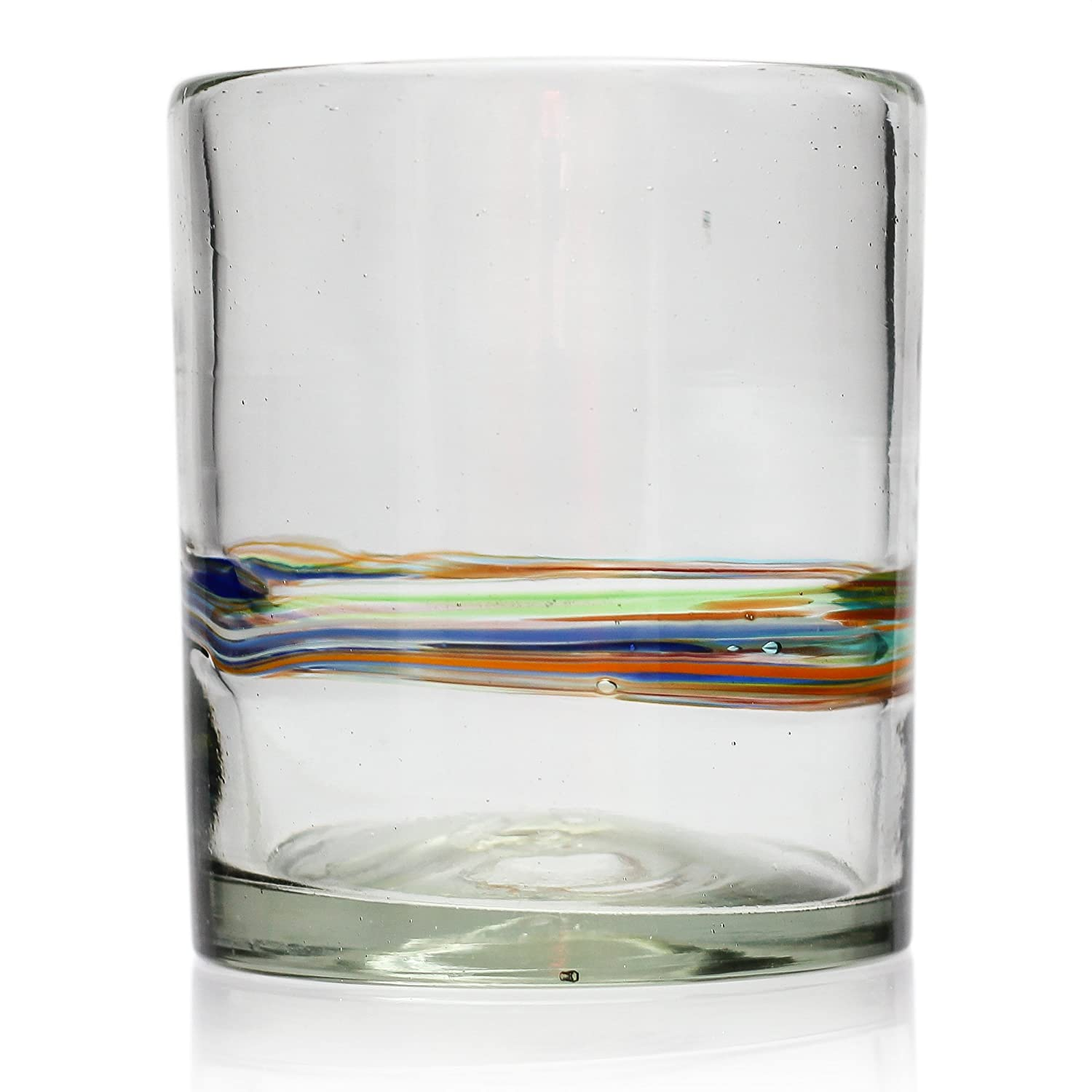 Tumbler, multi-stripe, hand blown from recycled glass - fair trade and handmade in Mexico Tumia LAC