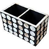 ASSEMBLAGE B & W Mother of Pearl Polka Cutlery or Stationery Organiser