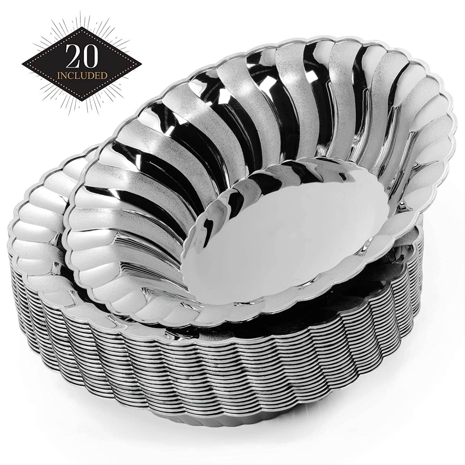 Elegant Silver Durable /& Reusable Silver Dinnerware| Perfect for Weddings Birthdays Bridal /& Baby Showers Events Parties. 18.5cm| Heavy Duty MATANA 20 Premium Disposable Plastic Bowls