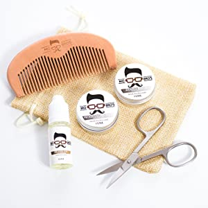 Mo Bro's Beard Starter Grooming Kit- Moustache Wax, Beard Balm, Oil, Comb, Scissors & Gift Bag (Unscented)