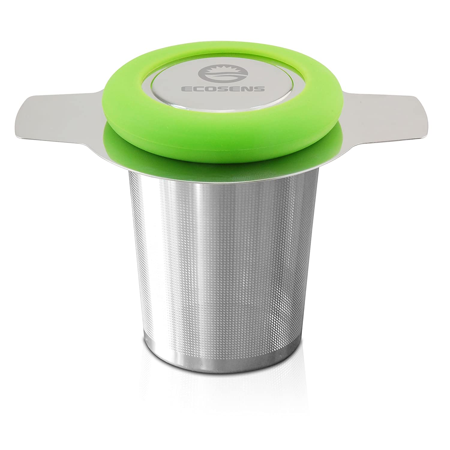 ECOSENS Stainless Steel Mesh Loose Leaf Tea Infuser with Lid and Hot Resistant Silicone Liner, Green