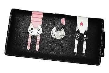 Coface Cartera plegable larga con cremallera, diseño de gato, negro: Amazon.es: Bricolaje y herramientas