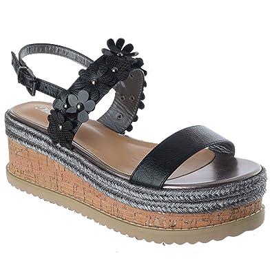 c5033dfa96d6 Miss Image UK Womens Ladies New Cork Wedge Platform Ankle Strap Espadrilles Sandals  Shoes Size