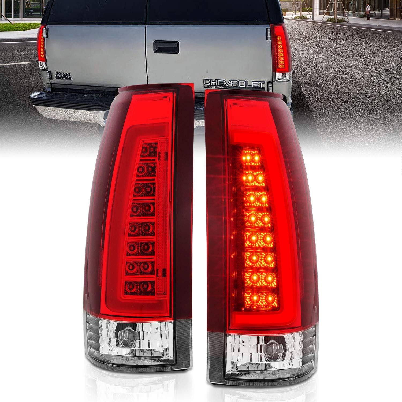 Passenger and Driver Side AmeriLite for 1988-1999 Chevy GMC C//K Full Size Tahoe Suburban Crystal Red C-Type LED Tube Tail Lights Set
