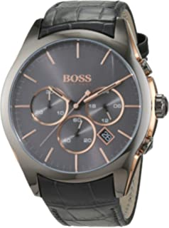 420b52c39 HUGO BOSS Men's Chronograph Quartz Watch with Leather Strap – 1513366