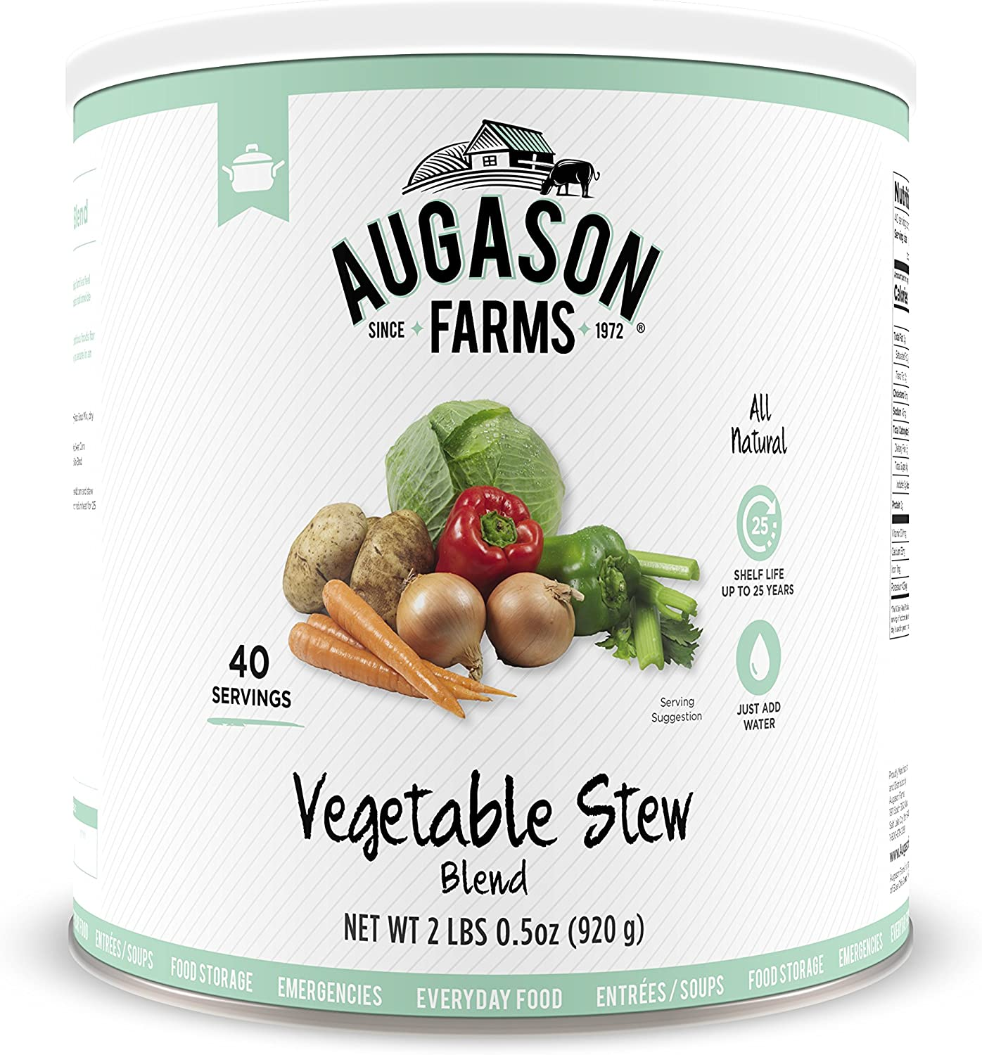 Augason Farms Vegetable Stew Blend 2 lbs 0.5 oz No. 10 Can