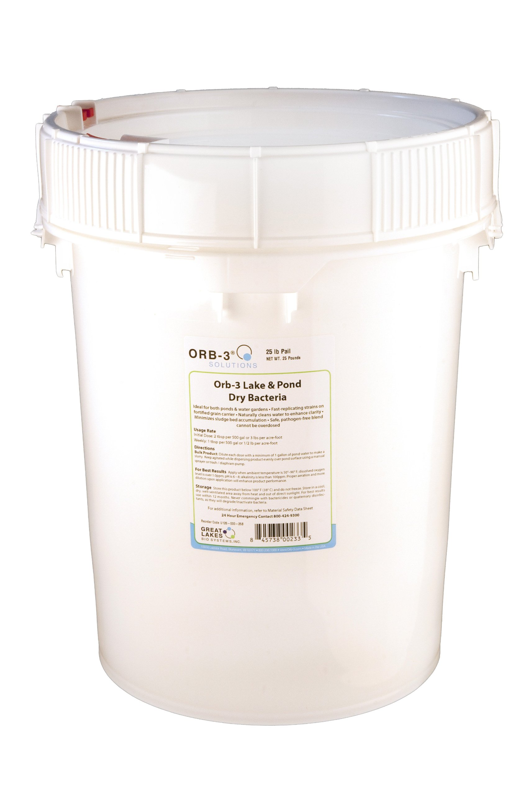 Orb-3 Lake and Pond Dry Bacteria Pail Bulk, 25-Pound