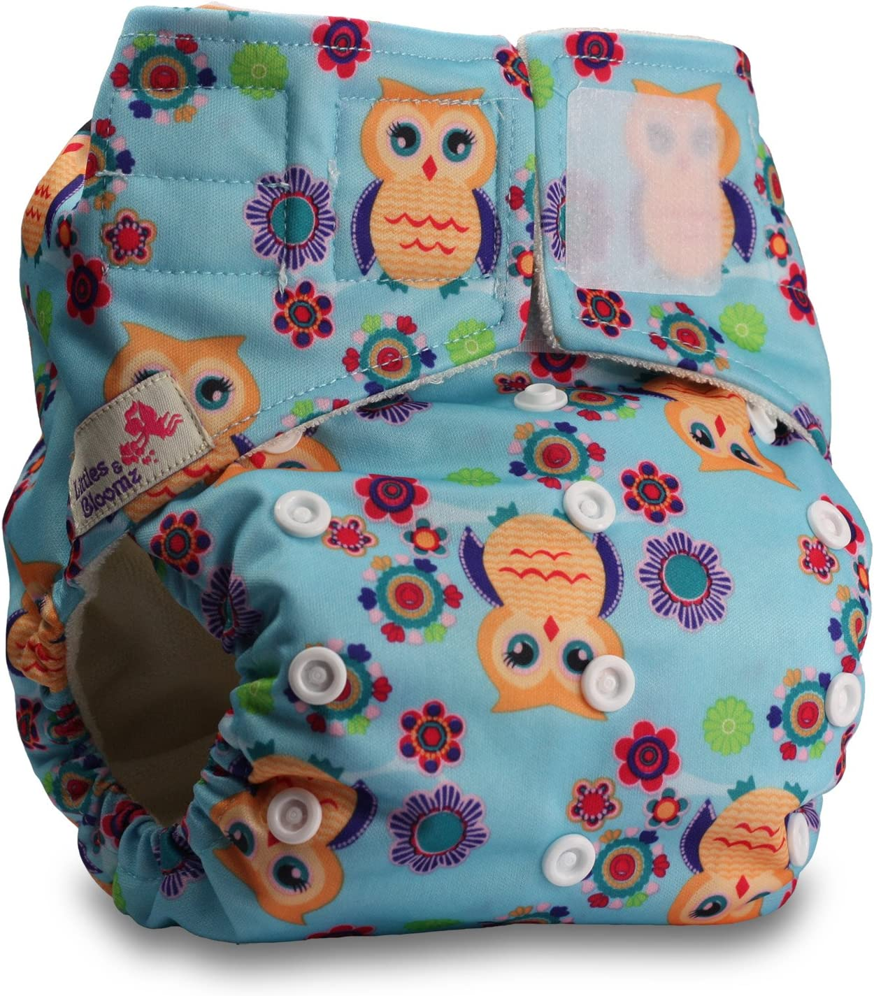 Pattern 52 Fastener: Hook-Loop Baby Cloth Washable Reusable Nappy Pocket Diaper Bamboo with 2 Microfibre Inserts Littles /& Bloomz