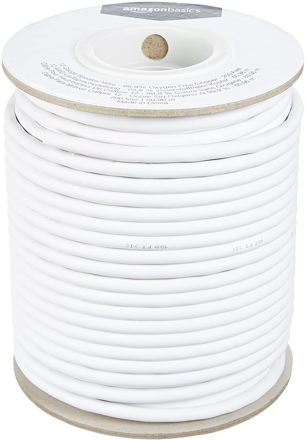 AmazonBasics 12-Gauge Speaker Wire - 99.9% Oxygen Free Copper, 200-Foot