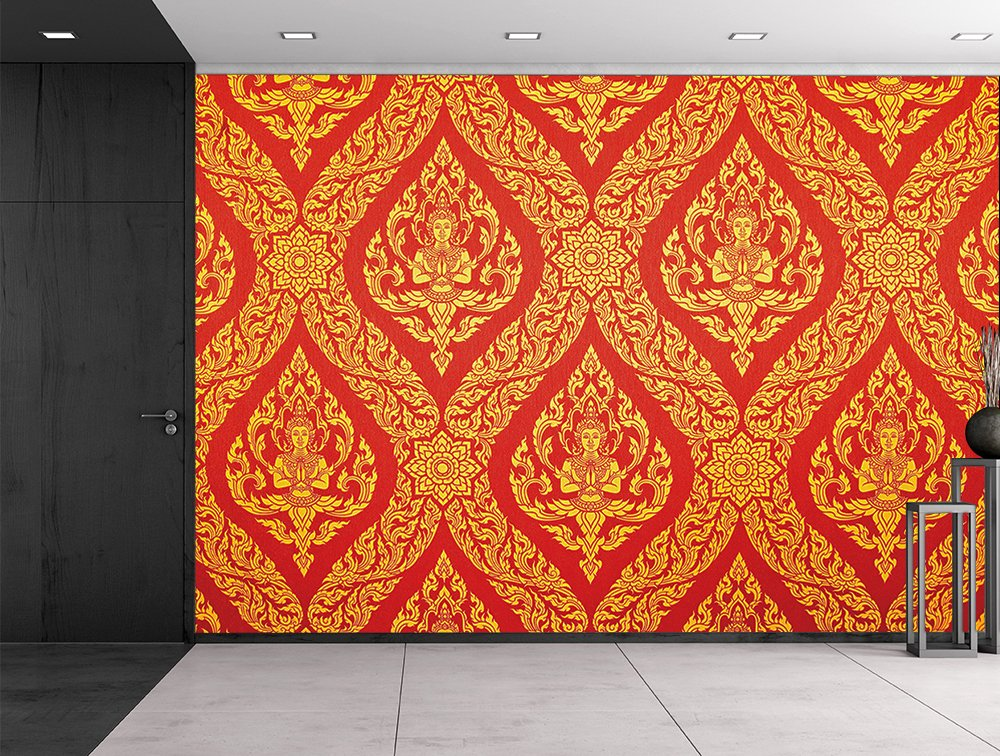 wall26 Traditional Thai painting in red and gold - Ornate temple decoration - Wall Mural, Removable Sticker, Home Decor - 66x96 inches