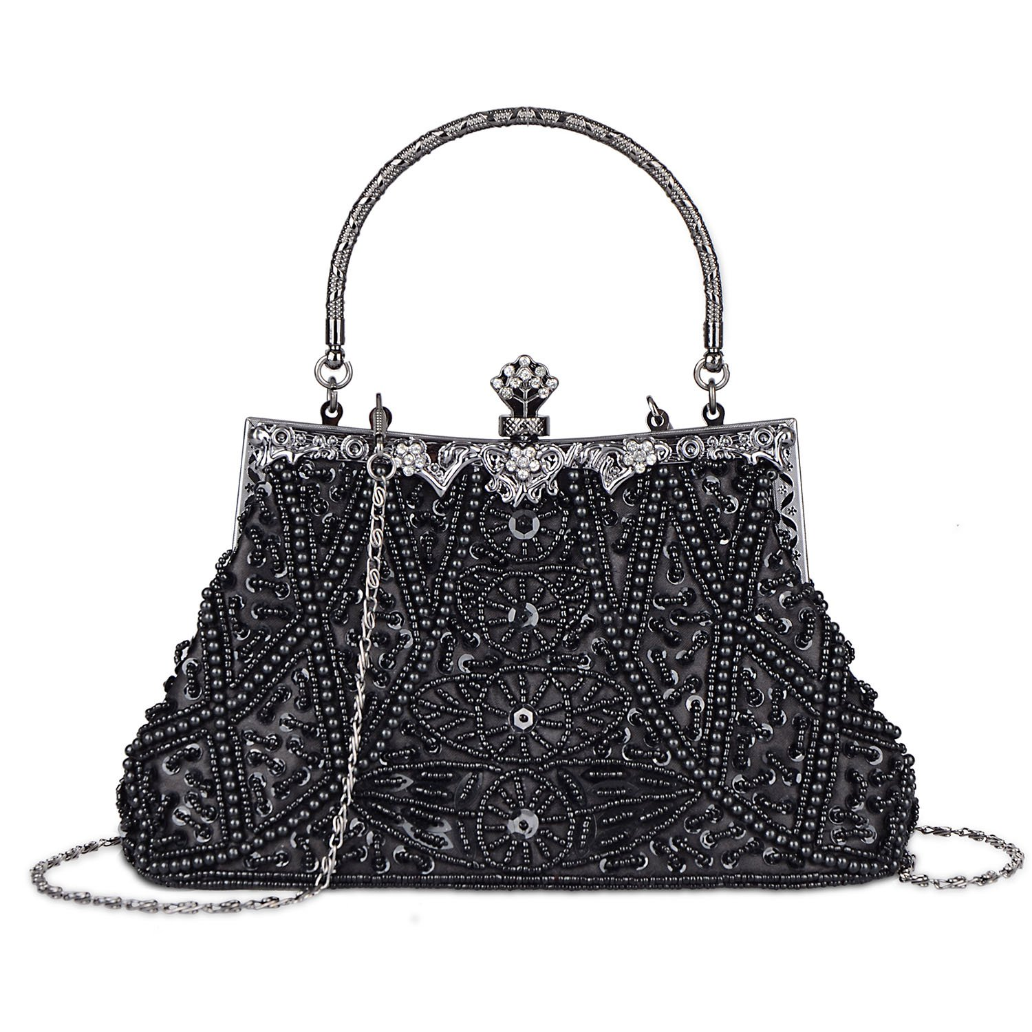 Fashion Vintage Style Handbag Beaded Sequined Evening Bag Wedding Party Handbag Rhinestone Clutch Purse (Black) by Baglamor
