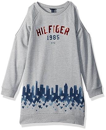 cb391153f03 Amazon.com  Tommy Hilfiger Girls  Big Open Shoulder Sweatshirt Dress ...