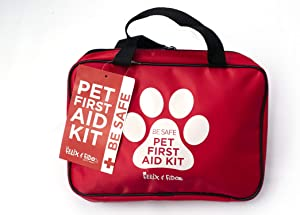 BE SAFE! Pet First Aid Kit- 50 pc First Aid Kit for Your Pets- Emergency Preparedness- Great for Home, Car, Travel, Camping, and Hiking- Emergency Care Guide Included- Keep Your Pet Safe and Prepared!