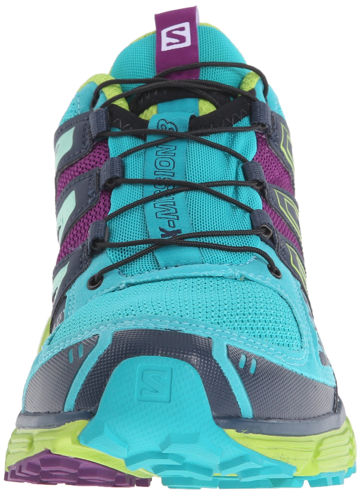 Salomon Women's X-Mission 3 W Trail Running Shoe, Teal Blue/Granny Green/Passion Purple, 7.5 B US by Salomon (Image #4)