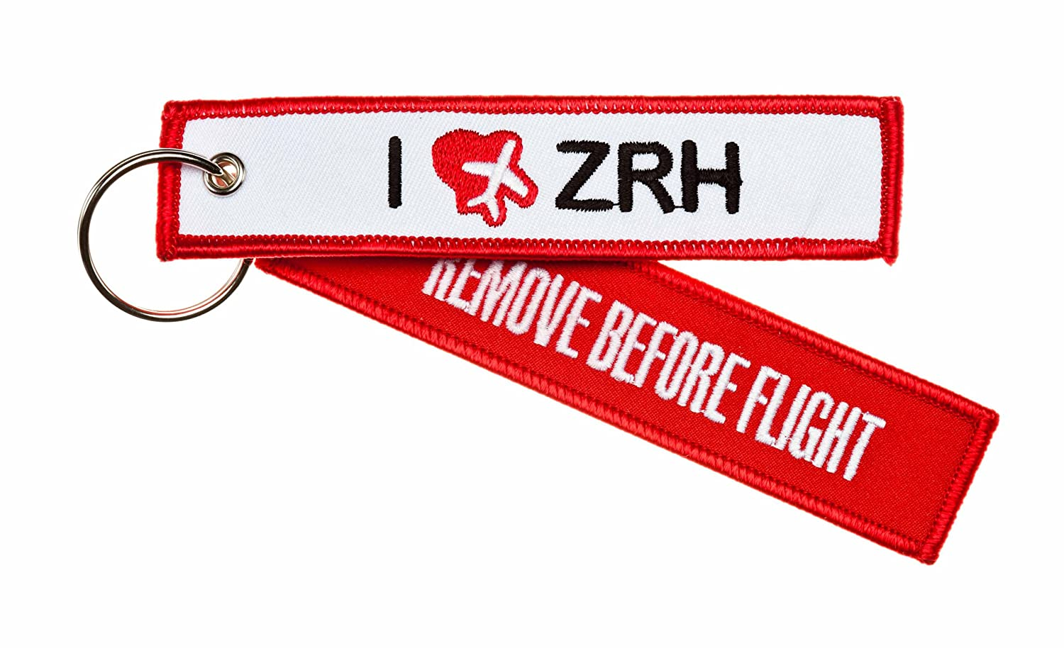Porte Clés - 'REMOVE BEFORE FLIGHT' -- ' I Love ZRH ' (L'aéroport international de Zurich - Suisse) - *** Edition: I Love my Airport ***