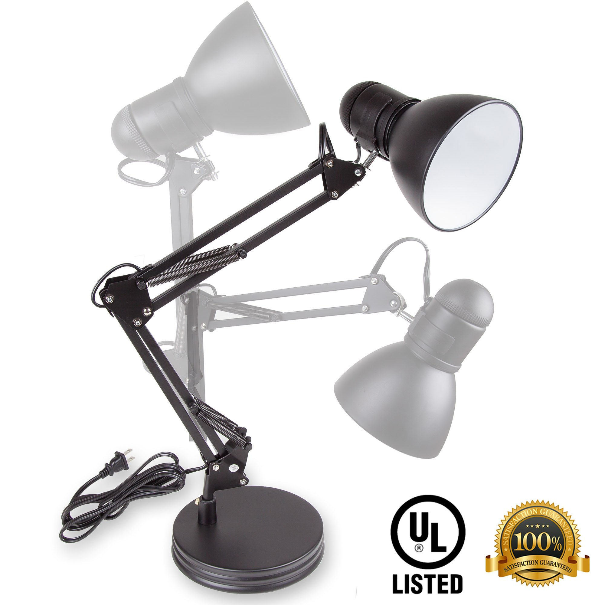 Home Intuition Desk Lamp with Swing Arm Architect Style, Black
