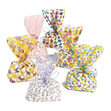 Amazon 36 cellophane easter print goody bags goodyfavor bags 36 cellophane easter print goody bags goodyfavor bags bulk pack negle