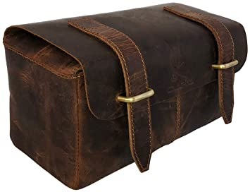 aebee8de62cf Amazon.com: Leather Unisex Toiletry Bag Travel Dopp Kit Grooming and ...