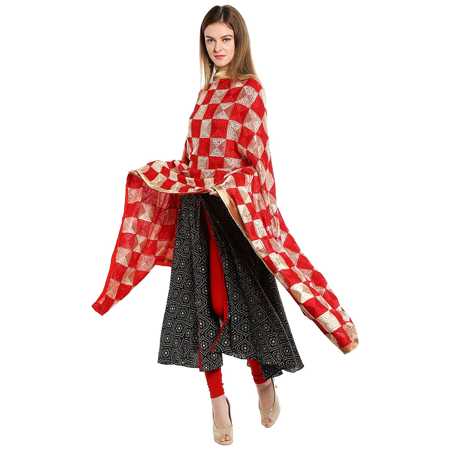 Red & Beige Rich Phulkari Dupatta DB1237