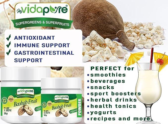 Polvo de fruta orgánica Baobab RAW 100% Pure SUPERFOOD Suplemento dietético es rico en antioxidantes, vitamina C, calcio. 3.53 onzas - 100 gramos.