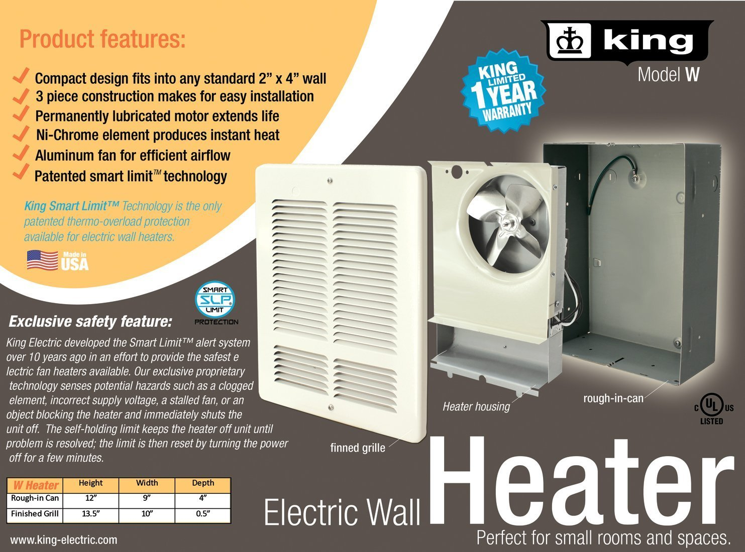 King Electric W1215 W Wall Heater 10 X 135 White Rough Wiring Baseboard Home Improvement