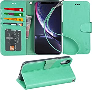 Arae Wallet Case for iPhone xr 2018 PU Leather flip case Cover [Stand Feature] with Wrist Strap and [4-Slots] ID&Credit Cards Pocket for iPhone Xr 6.1 inch (Green)