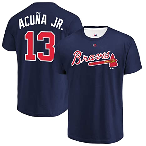 Ronald Acuna Jr Atlanta Braves #13 Youth Player Name /& Number T-Shirt Navy