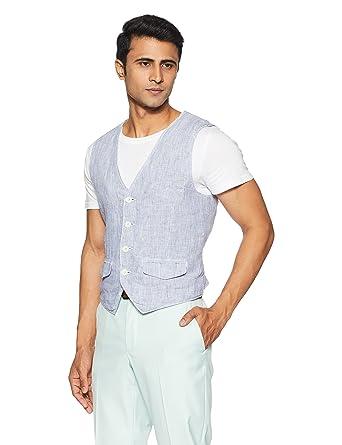 Jack & Jones Men's Linen Waistcoat Men's Suits & Blazers at amazon