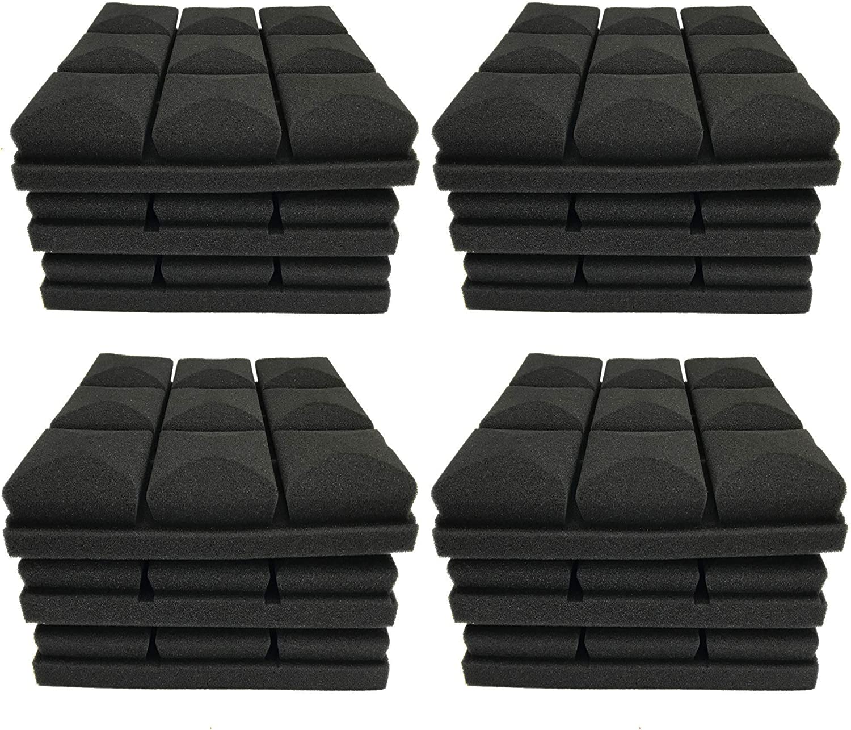 "12 Pack Set 2"" X 12"" X 12"" Acoustic Foam Panels, Studio Wedge Tiles, Sound Panels wedges Soundproof Sound Insulation Absorbing, 9 Block Mushroom Design"