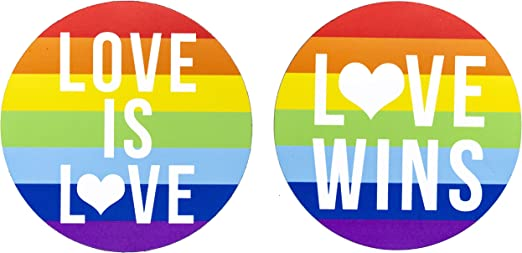 Gay Lesbian Marriage PRIDE Sticker as wall decorations Use on car bumper LGBTQ rights 5 Love Wins /& 5 Love is Love Maye Market Rainbow Flag for LGBT LARGE 5 inches 10 Pack or give as a gift computer