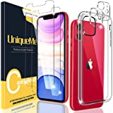 [2+2+1 Pack] UniqueMe Screen Protector Compatible for iPhone 11 (6.1 inch) + Camera Lens Protector+ Case Cover [Anti-Scratch]