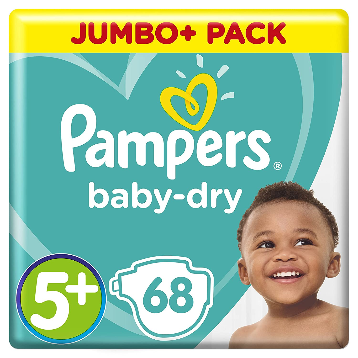 Size 5+ 12-17 kg Pampers Baby-Dry Air Channels For Breathable Dryness Overnight and Extra Night Absorption 68 Nappies