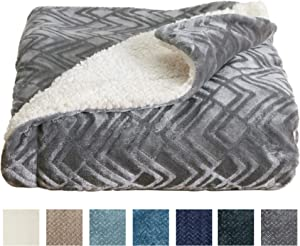 Home Fashion Designs Premium Reversible Two-in-One Sherpa and Fleece Velvet Plush Blanket. Fuzzy, Cozy, All-Season Berber Fleece Throw Blanket Brand. (Pewter)
