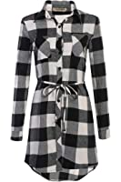 HOTOUCH Women's Casual Long Sleeve Button Down Belted Plaid Shirt Dress
