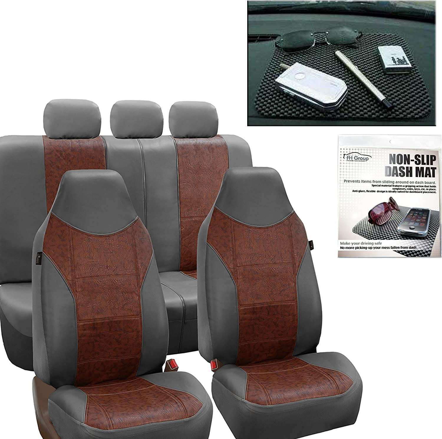 FH Group FH-PU160115 PU Textured High Back Leather Car Seat Covers Solid Gray, Airbag Compatible and Split Bench FH1002 Non-Slip Dash Grip Pad- Fit Most Car, Truck, SUV, or Van