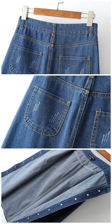 Lingswallow Womens High Waist Single Breasted A Line Denim Maxi Long Skirt Blue