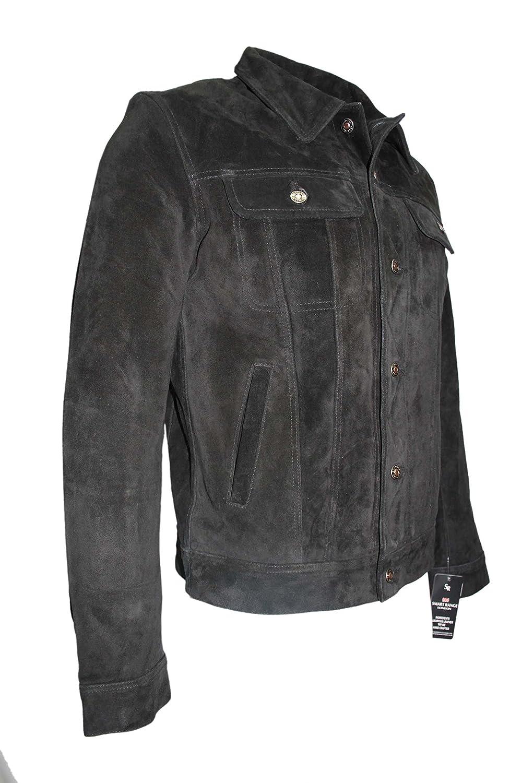 'TRUCKER' Men's BLACK SUEDE 1280 Classic Real Cowhide Western Leather Jacket