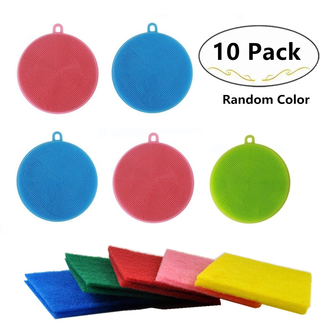 5 Pack Antibacterial Silicone Dish Scrubber Dishwashing Cleaning Brush and 5 Scouring Pads for Bonus, Carnatory Fruit and Vegetable Washer Heat Insulation Pad For Kitchen Wash Pot Pan Dish Bowl Carnationy