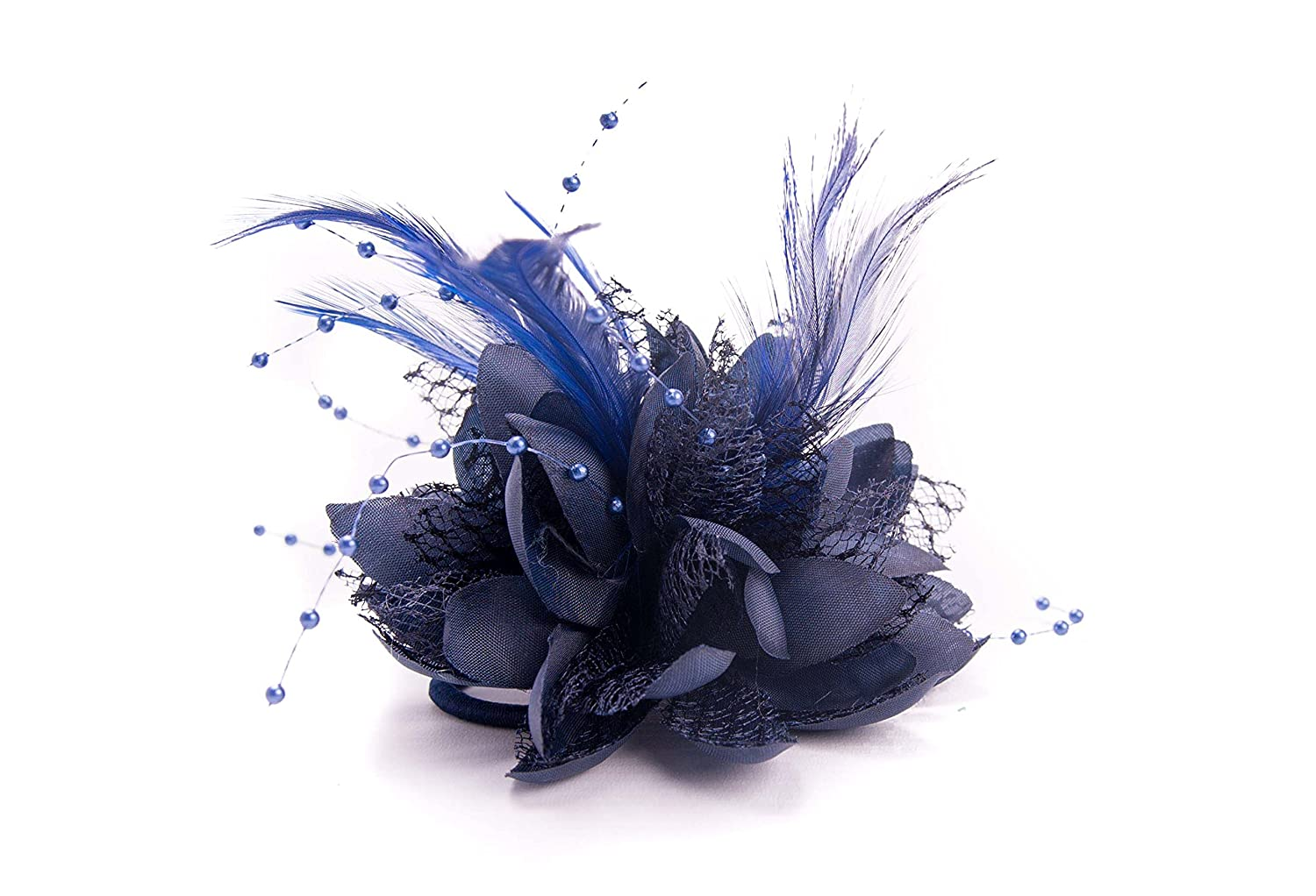 Ladies Beaded Feather Fascinator Clip, Hair Bobble and Brooch Pin (NAVY BLUE) Allsorts