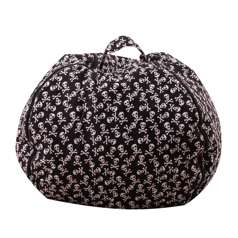 Evoio Stuffed Animal Storage Bean Bag Chair Stuffed Toys Storage or Sack Premium Cotton Canvas Zipper Organizer Box for Kids (Black-Skull, 38'') by Evoio