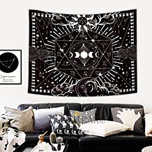 Homewelle Psychedelic Tapestry Moon 51Hx59W Inch Mystic Burning Sun Star Zodiac Constellation Cool Mystic Astrology Gothic Cozy Aesthetic Popular Art Wall Hanging Bedroom Living Room Dorm Decor Fabric